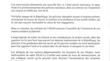L'ANAS EN SOUTIEN AUX POLICIERS (29/10/2020)
