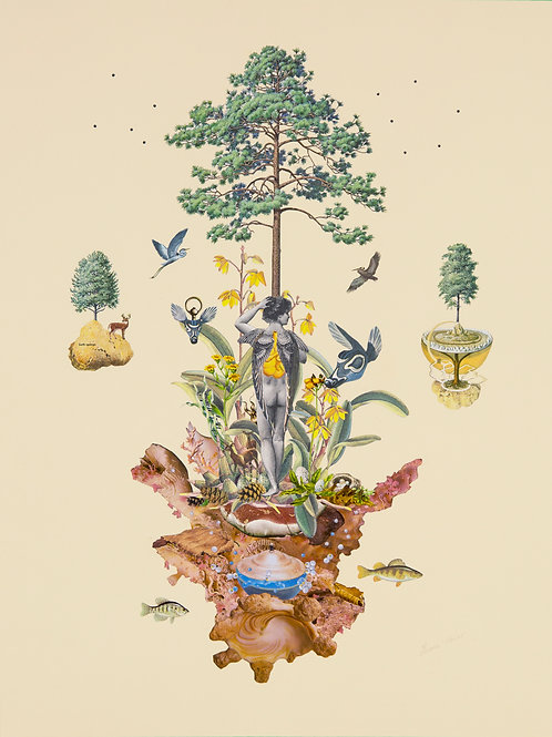'Tree of Life' Giclee Print of Original Hand-Cut Collage