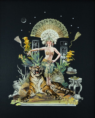 """'Tiger Queen' 16"""" x 18"""" Hand Cut Collage 2020"""