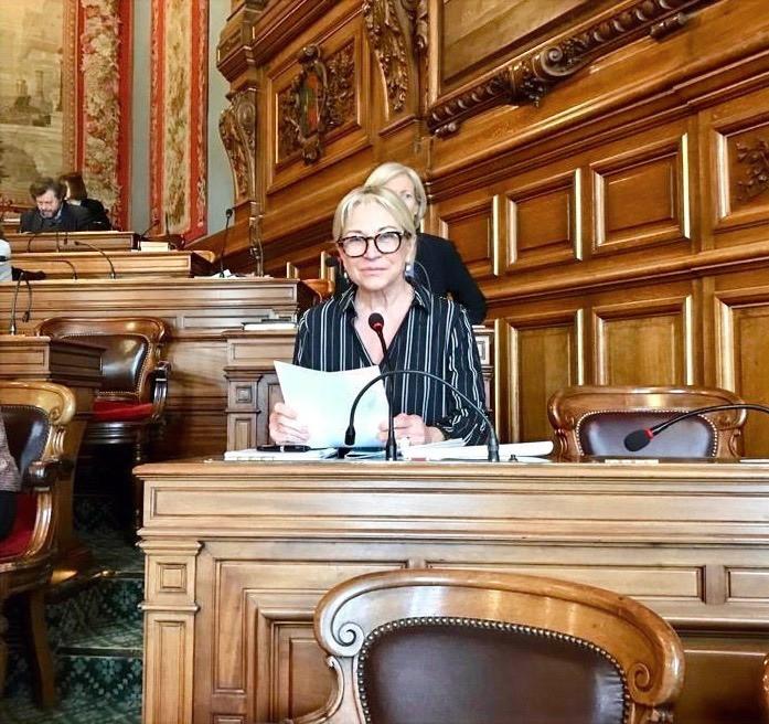 Intervention au pupitre dans la salle du Conseil de Paris