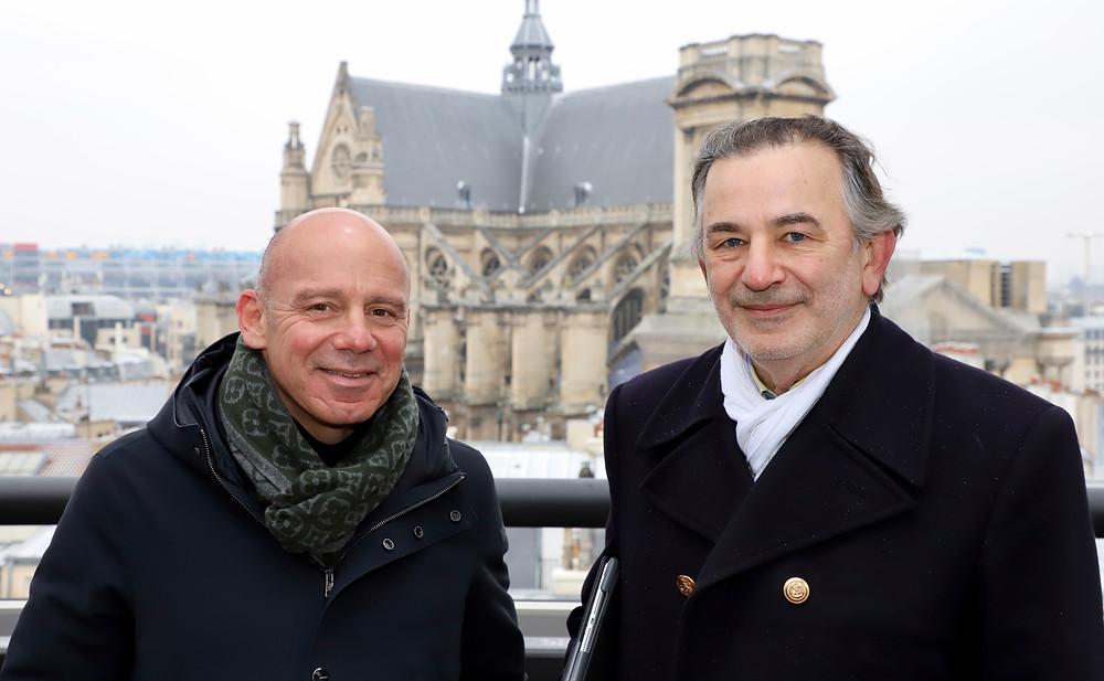 Laurent TAÏEB et Jean-François LEGARET sur le toit de l'hôtel de la Poste du Louvre (1er arrondissement)