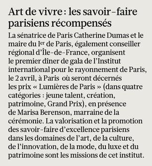 """""""Art de vivre : les savoir-faire parisiens récompensés"""" (Le Figaro)"""