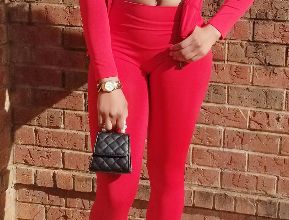 Just Chillin Red Jogger Set