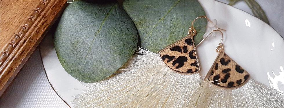 White/Leopard Tassel Earrings