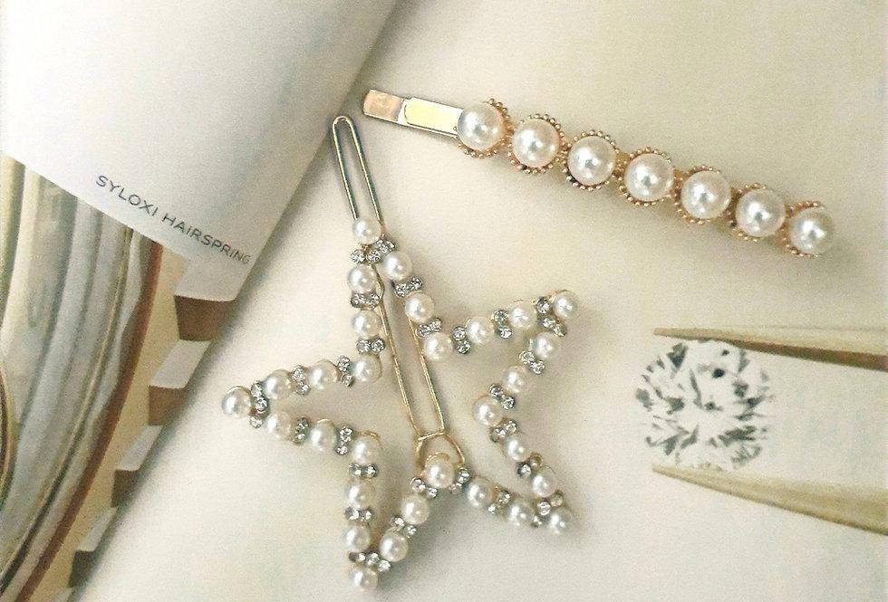 Star Pearl Hair Clip Set