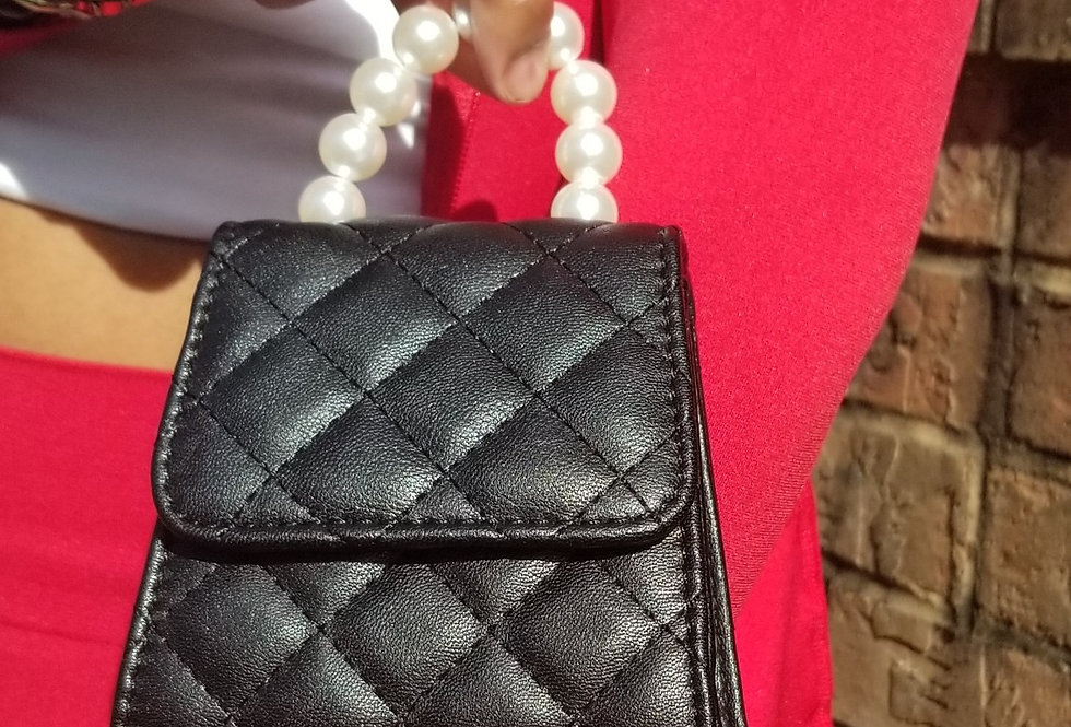 Mini Black Pearl Crossbody Bag