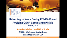 Returning to Work During COVID-19 and Avoiding OSHA Compliance Pitfalls