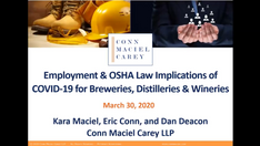 Employment Law and Workplace Safety Implications of COVID-19 for Breweries, Distilleries and Wineries