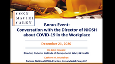 Bonus Webinar: A Conversation with the Director of NIOSH about COVID-19 in the Workplace