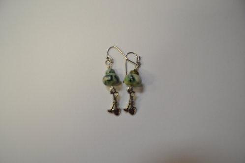 Mariposite Earrings w Miners Pick & Shovel  Charm - 08
