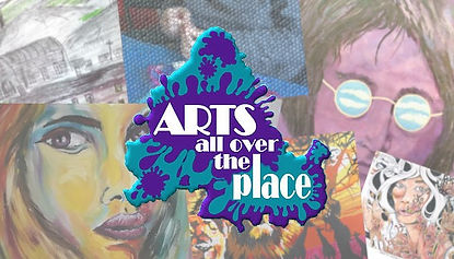 The Arts All Over the Place Facebook header image.