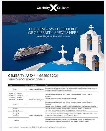 /3/25名人2021遊輪宣布至極號 CelebrityApex 從2021/6/19-9/25重啓航行於希臘愛琴海。8天7晚雅典上下船。遊覧塞埔路斯、利馬索爾、羅德島、聖托里尼。18歲以上的船員和乘客必須打過新冠肺炎疫苗。這是第2艘 愛極系列EDGE 級的遊輪。2020年4月下水。129500噸。載客人數2918人。獨家設計的無限陽台艙 和多功能用途的魔毯 設計。 ☎️ 6046060636 大華旅遊官網 https://www.formosacruise.com/ #遊輪 #名人至極號 #至極號 #愛極系列 #無限陽台艙 #魔毯 #名人遊輪 #菁英遊輪 #精緻遊輪 #地中海遊輪 #愛琴海遊輪 #大華旅遊