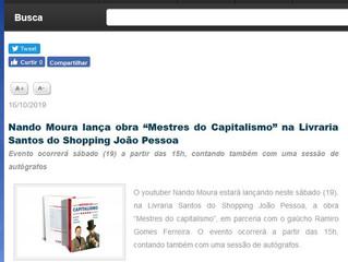 """Nando Moura lança obra """"Mestres do Capitalismo"""" na Livraria Santos do Shopping João Pessoa"""