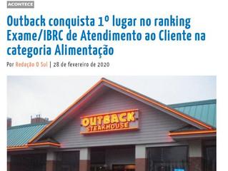 Outback conquista 1º lugar no ranking Exame/IBRC de Atendimento ao Cliente na categoria Alimentação