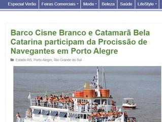 Barco Cisne Branco e Catamarã Bela Catarina participam da Procissão de Navegantes em Porto Alegre