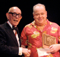 John Archer and Ali Bongo. Presentation of Magic Circle Stage Magician of The Year Award