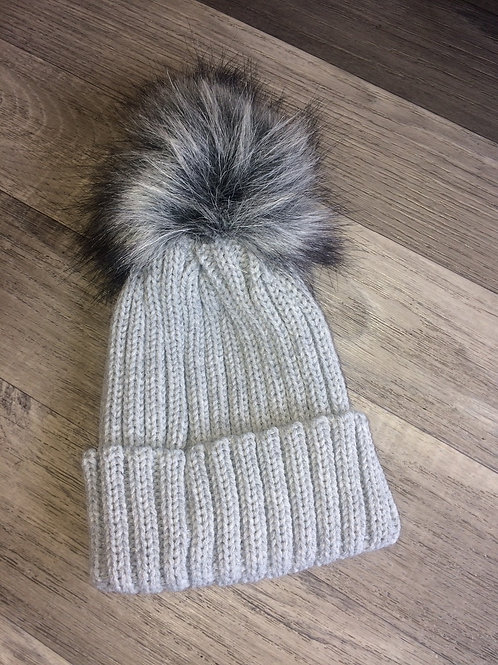 Kinder Ribbed Hat with Faux Fur Pom-Grey