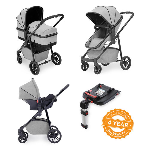 Moon 3-in-1 Travel System with Isofix base - Silver Grey