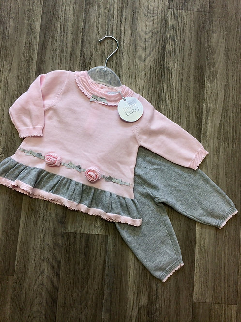 Blues Baby Pink Knitted 1 pc set with applique flowers