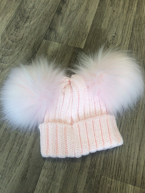 Kinder Ribbed Hat with Twin Faux Fur Pom- Pink
