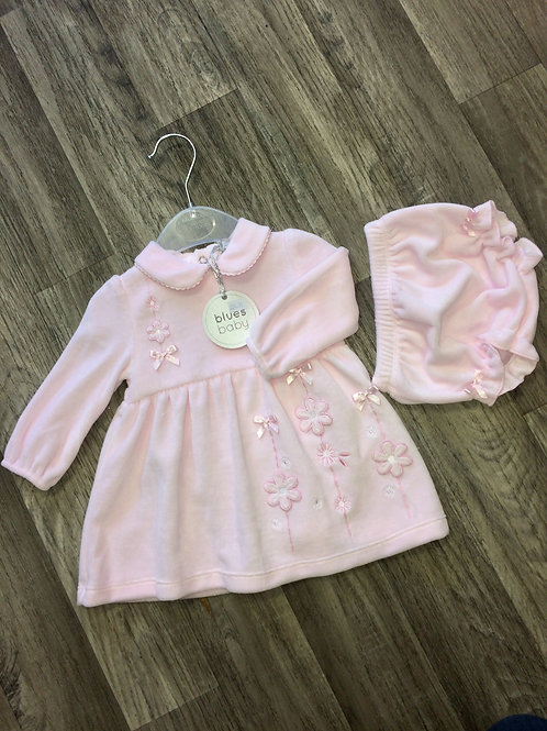 Blues Baby Velour pink dress with flower detail and matching knickers