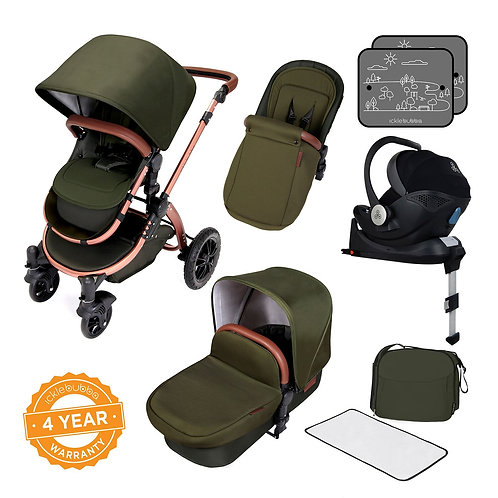 Stomp V4 I-Size Travel System Bundle With Isofix base-Woodland green/copper