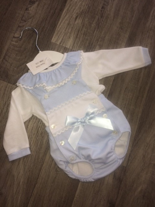 Little Nosh Romper suit with long sleeve top - baby blue