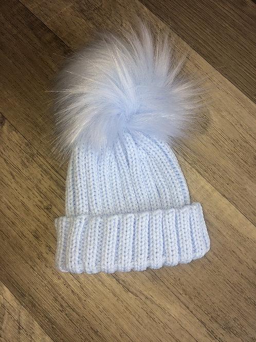 Kinder Ribbed Hat with Faux Fur Pom- Blue