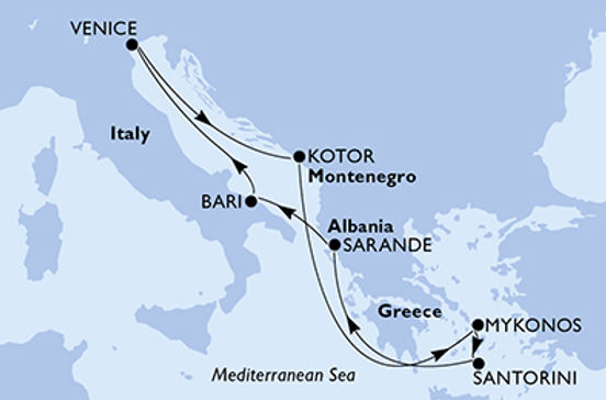 Italia, Montenegro, Grecia, Albania MSC SINFONIA