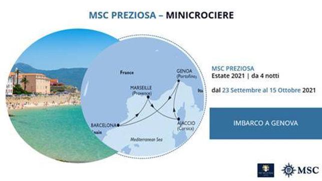 MSC PREZIOSA MINICROCIERE DAL 23 SETTEMBRE AL 15 OTTOBRE