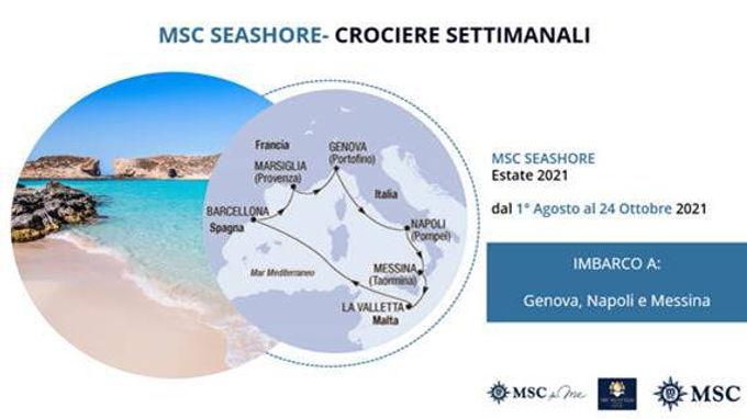 MSC SEASHORE DAL 1 AGOSTO AL 24 OTTOBRE