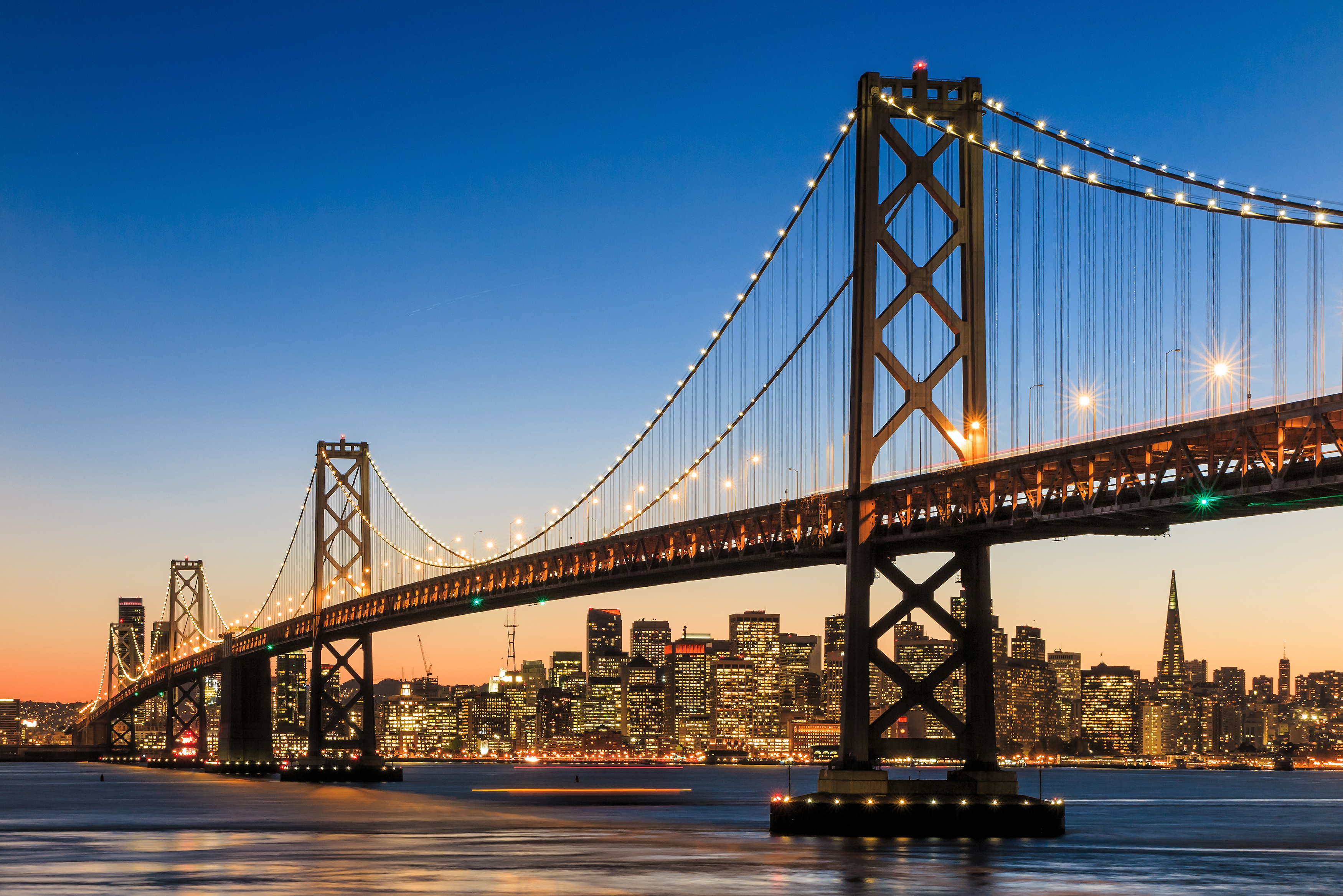 San Francisco skyline and Bay Bridge at