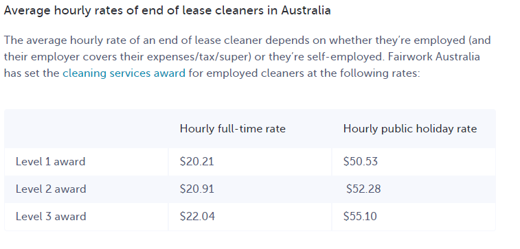 This is incorrect wages for a cleaner. They are misleading the public!