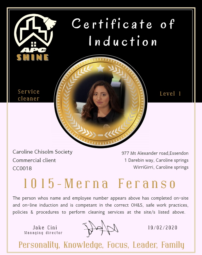 Certificate of Induction-Merna