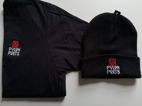 Embroidered T- Shirt and Beanie Logo Bundle