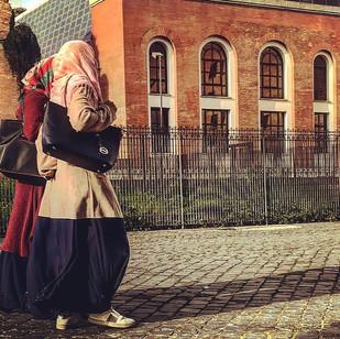 ethno-fashionable Arabian girls in snickers (streetportait)