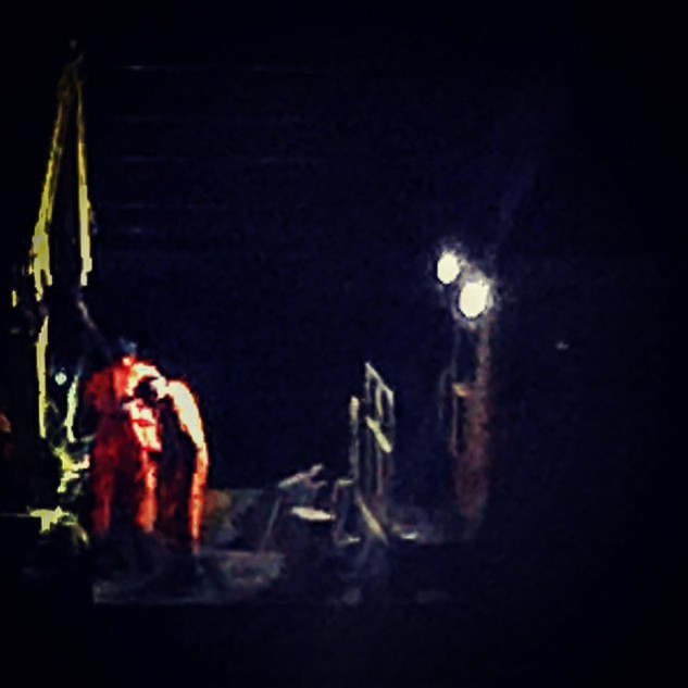 nightworkers on rail line (urban sketch