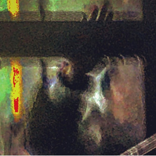 the waving woman's face blurred by breath steam (a night impression)