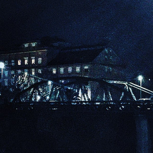 more songs about buildings and food (vol.13)_ sketches from Metropolis redux (graphic novel style), part 2_ the iron bridge at night