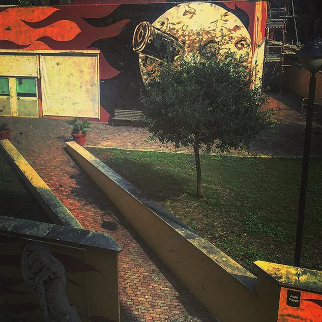 rear window view_ Zen Garden with murals by the end of the day