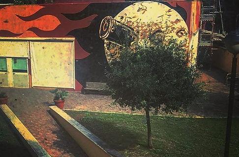 rear window view_ Zen Garden with murals