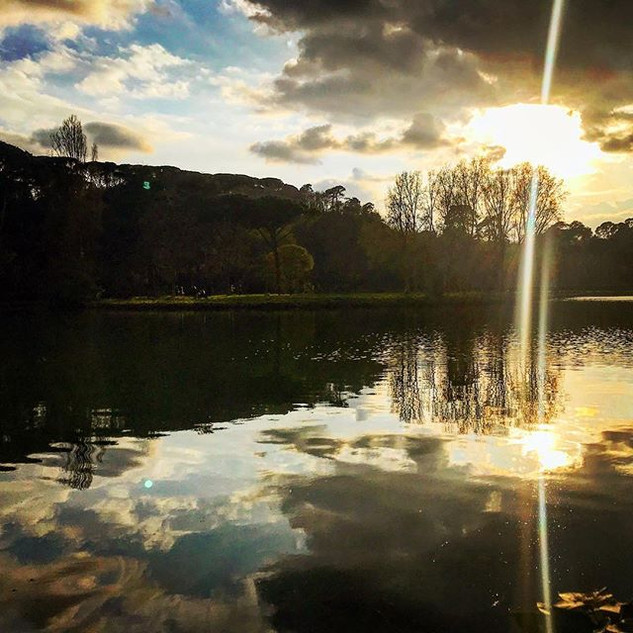 little lakeshore in the park, round about the setting of the sun (a double encounter)