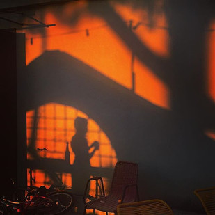 shadowy dreamy game at sunset (the little girl and the tree)