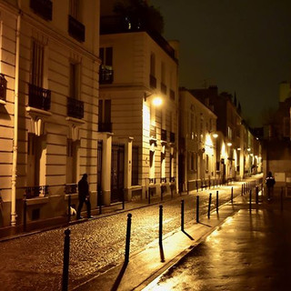 A quiet street at night