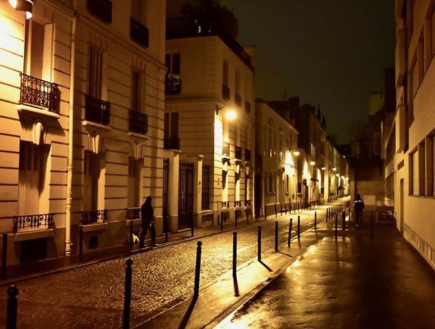 A quiet street at night