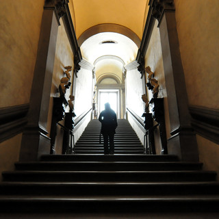 Acending to enlightenment at the Uffizi.