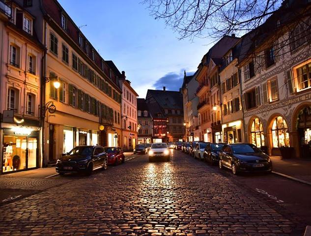 Alsatian street at night