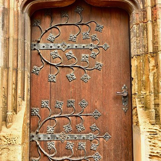 An ornate door