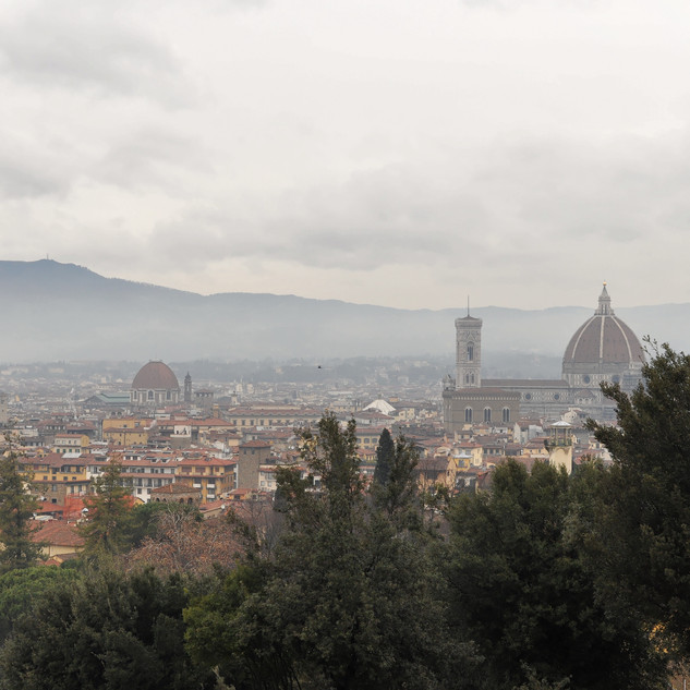 A hazy view of Florence from the hills.j
