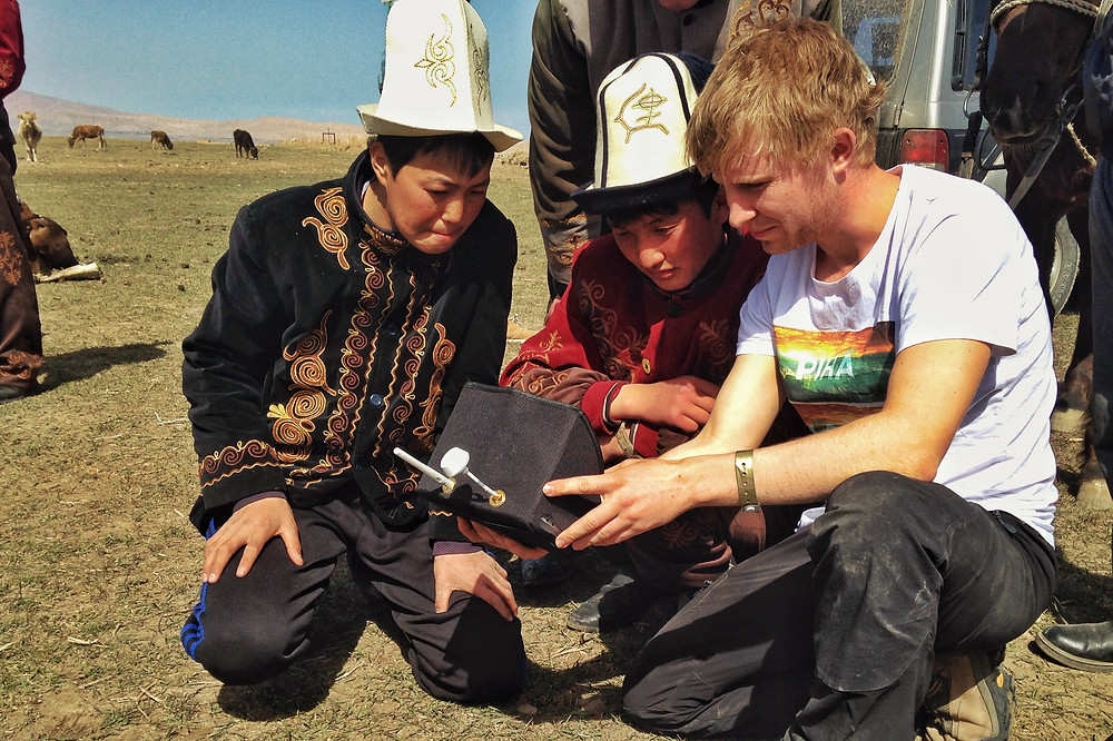 Sebastian with young Eagle Hunters in Krgyzstan